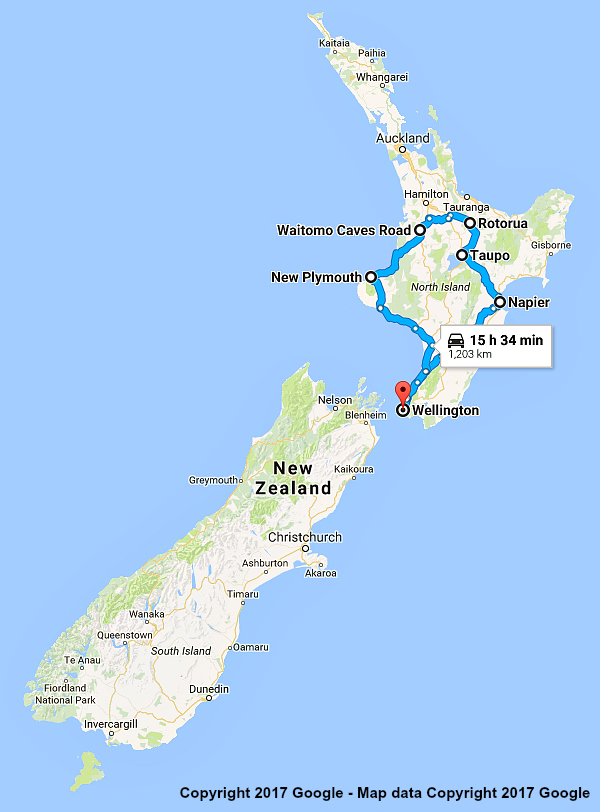 New Zealand North Island Road Map.New Zealand Itinerary Lower North Island 10 Days