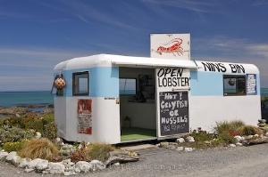 Try the fresh lobsters from Nin's Bin north of Kaikoura