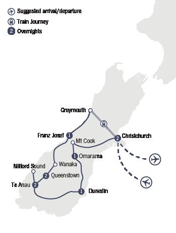 Kirra Tours 10 Day Southern Panorama Tour map