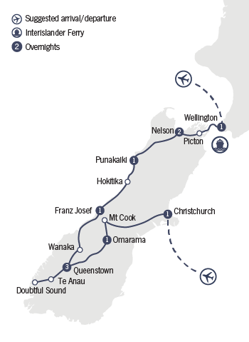 Kirra Tours 11 Day Southern Discovery Tour Map