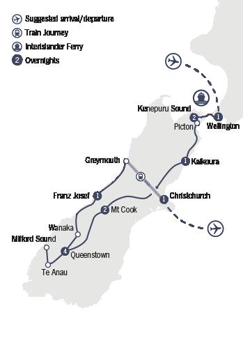 Kirra Tours 13 Day Southern Sensations tour map
