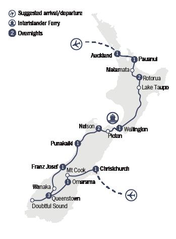 Kirra Tours 15 Day New Zealand Explorer Map