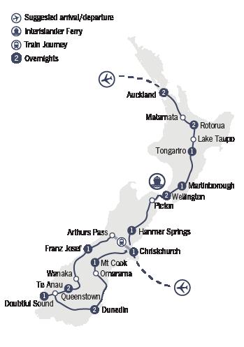 Kirra Tours 18 Day New Zealand Grandeur Map