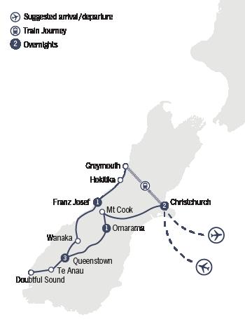 Kirra Tours 7 Day Warbirds Over Wanaka map
