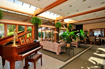 Relax in the atrium at Lake Taupo Lodge