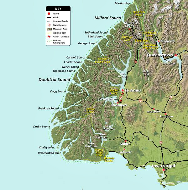 Fiordland map courtesy fiordland.org.nz