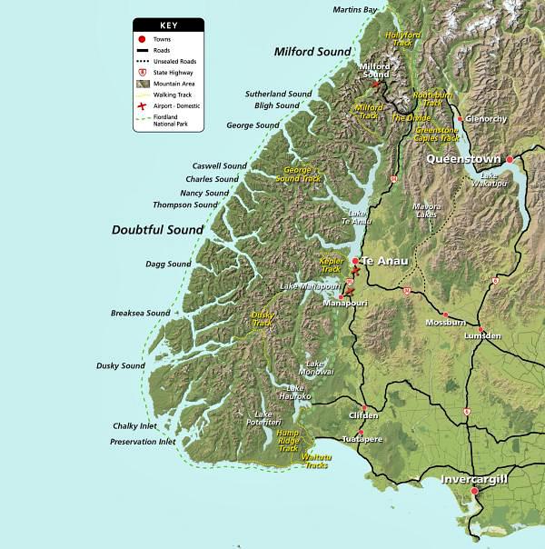 Fiordland map courtesy fiordland.org.nz
