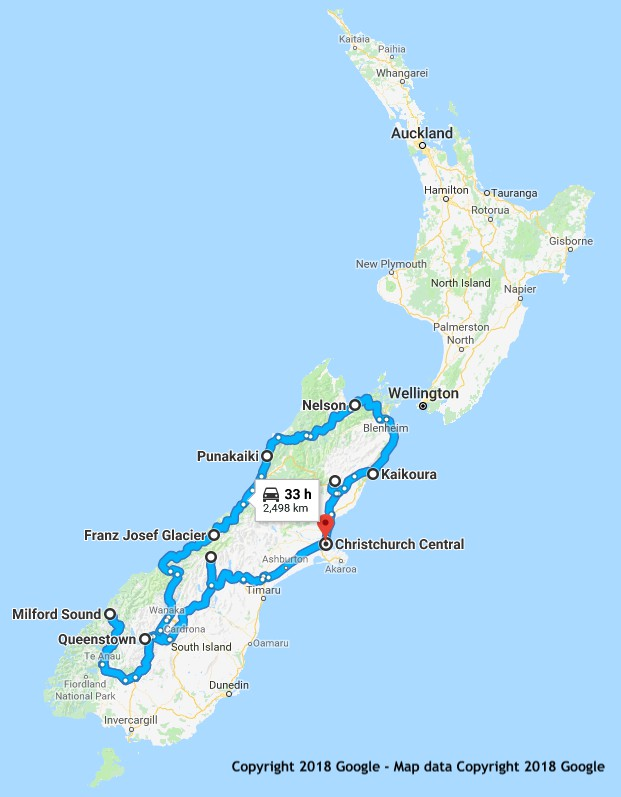 15 Day South Island Sun and Snow itinerary map