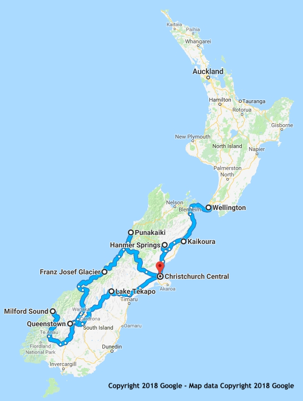 15 Day South Island Highlights itinerary map