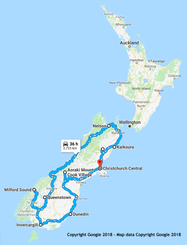 21 Day South Island Showcase New Zealand itinerary map