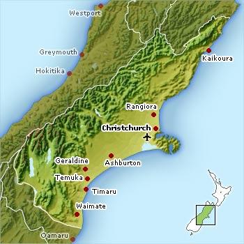 Christchurch / Canterbury Map