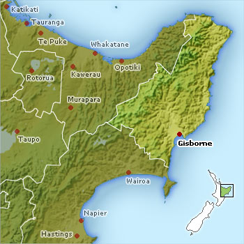 Eastland / Gisborne Region Map