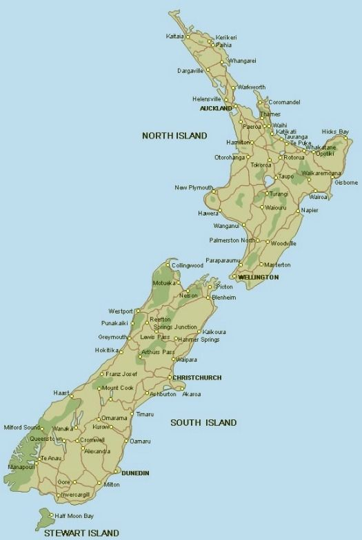 New Zealand map courtesy Backpack New Zealand