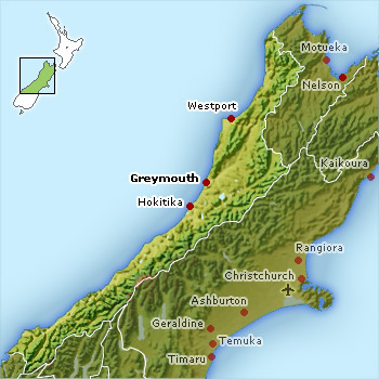 West Coast NZ location map