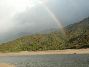 A rainbow in the Abel Tasman National Park