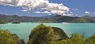 The Interislander in the Marlborough Sounds
