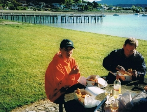 Tim and I with some yummy fish and chips at Picton