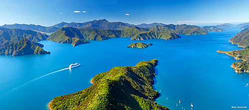 A cruise ship makes its way through the stunning Marlborough Sounds - pic courtesy Rob Suisted
