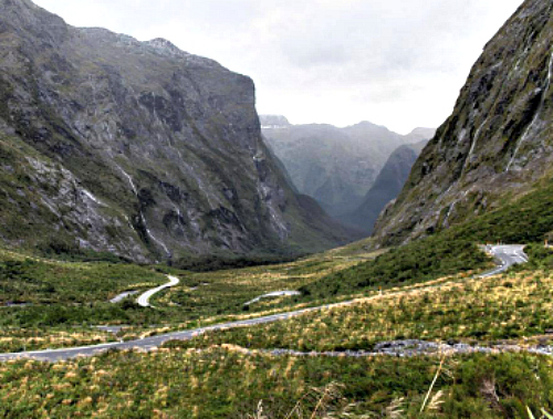 Jurassic Park? No, it's the Milford Sound Road West of the Homer Tunnel