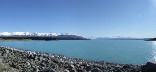 The cool blue waters of Lake Pukaki, with Mt Cook in the distance