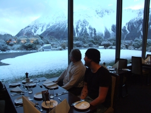 Admiring the view from the restaurant at the Hermitage