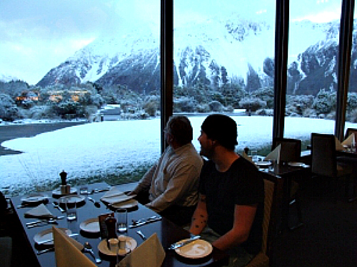 Enjoying a meal at The Hermitage Mt Cook