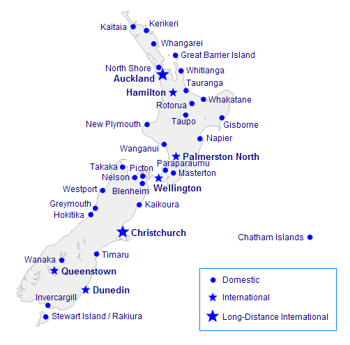 New Zealand airports map