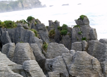 The unusual Pancake Rocks at Punakaiki