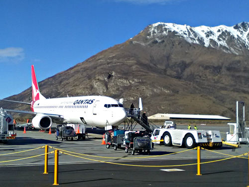 What a backdrop! Queenstown airport with the Remarkables in the background.