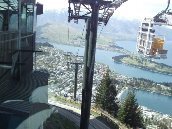 Looking down on Queenstown from the Skyline Gondola
