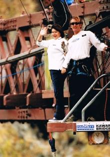 Kim about to jump off the historic Kawarau Bridge