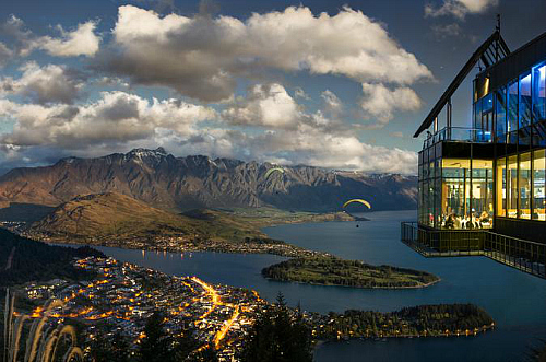 Looking down on Queenstown from the Skyline Gondola complex - pic courtesy Skyline Gondola