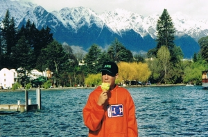 Our son Tim eating an ice cream on the shores of Lake Wakatipu