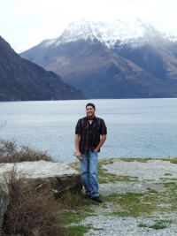 Tim, on the way to Kingston, with Lake Wakatipu in the background