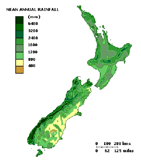 New Zealand Regions Map.Climate Map Of New Zealand