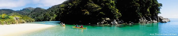 Kayaks in the Abel Tasman - picture courtesy Relaxing Journeys