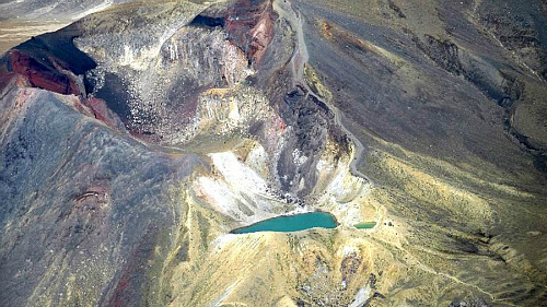 Aerial view of the Tongariro Alpine Crossing - courtesy visitruapehu.co.nz