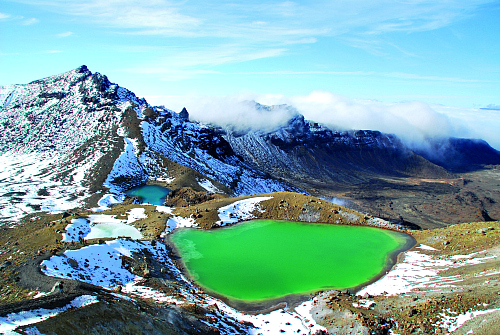 The stunning Emerald Lakes on the Tongariro Alpine Crossing - pic by Visitruapehu.com