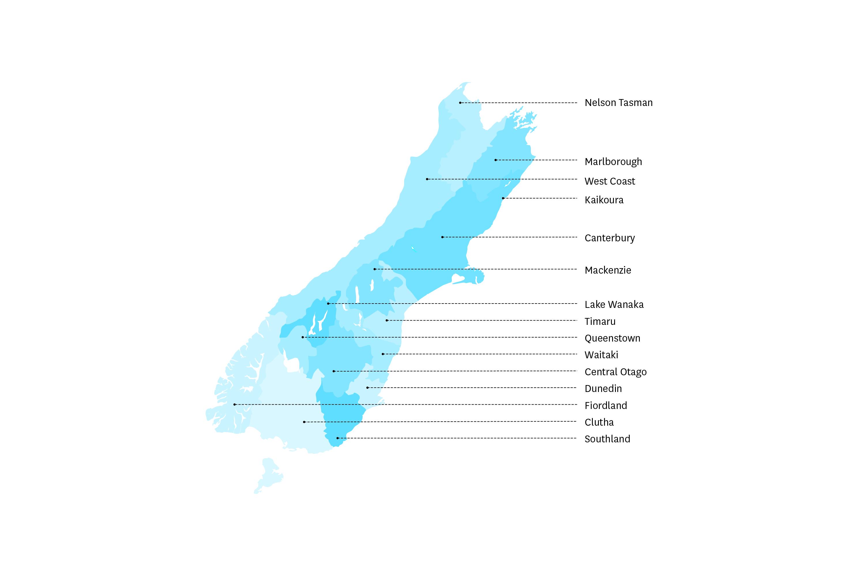 South Island regions map