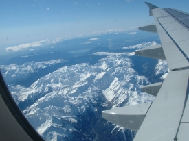 Coming into Queenstown over the Southern Alps