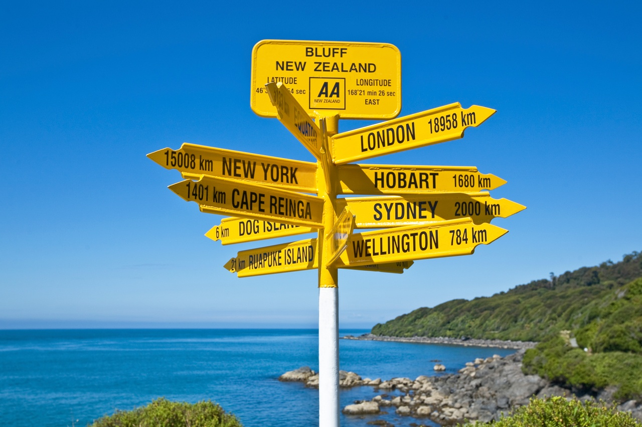 Signpost at Bluff in Southland. Picture courtesy Robin Smith