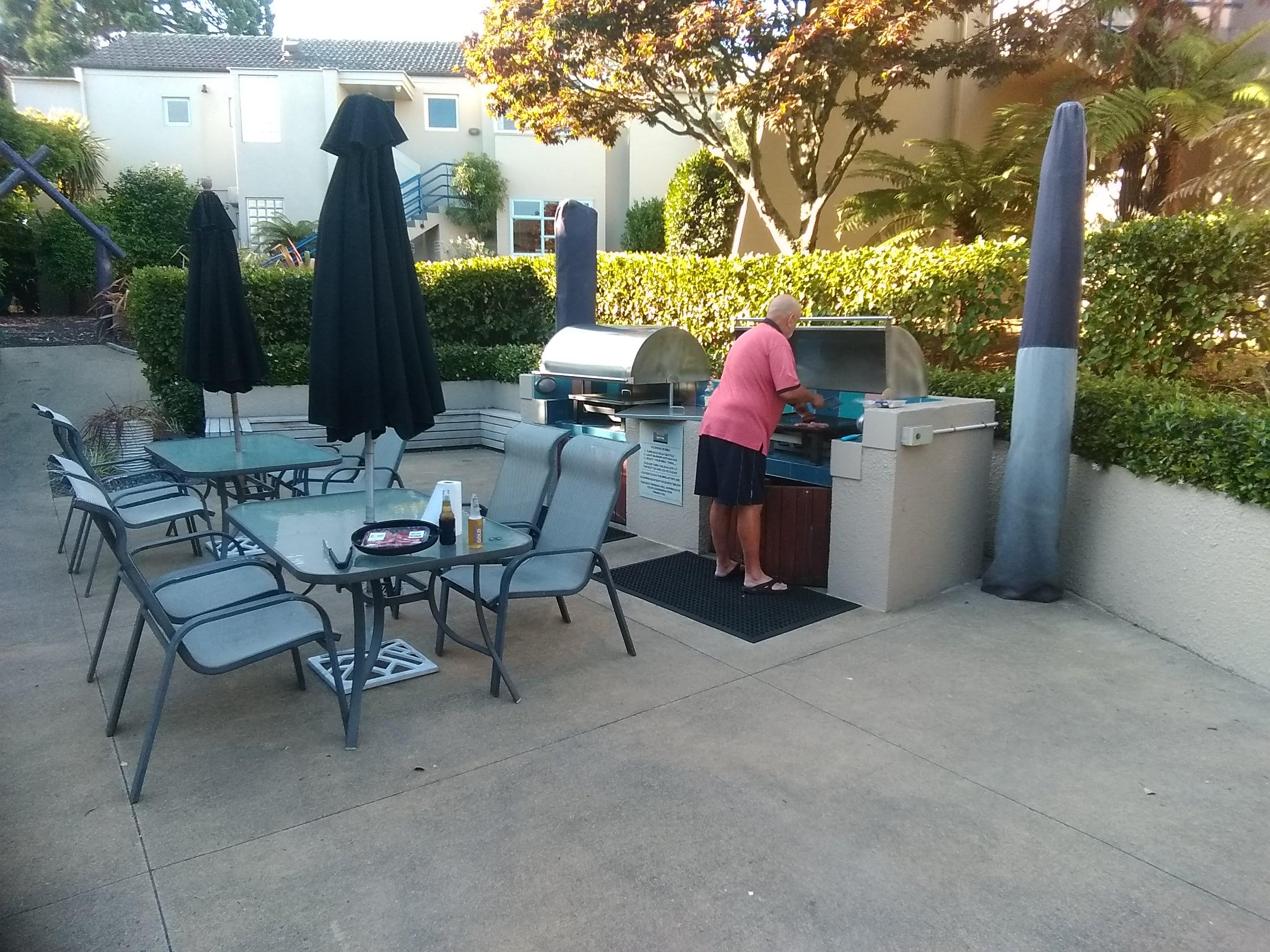 The BBQ area at Village Resort Taupo
