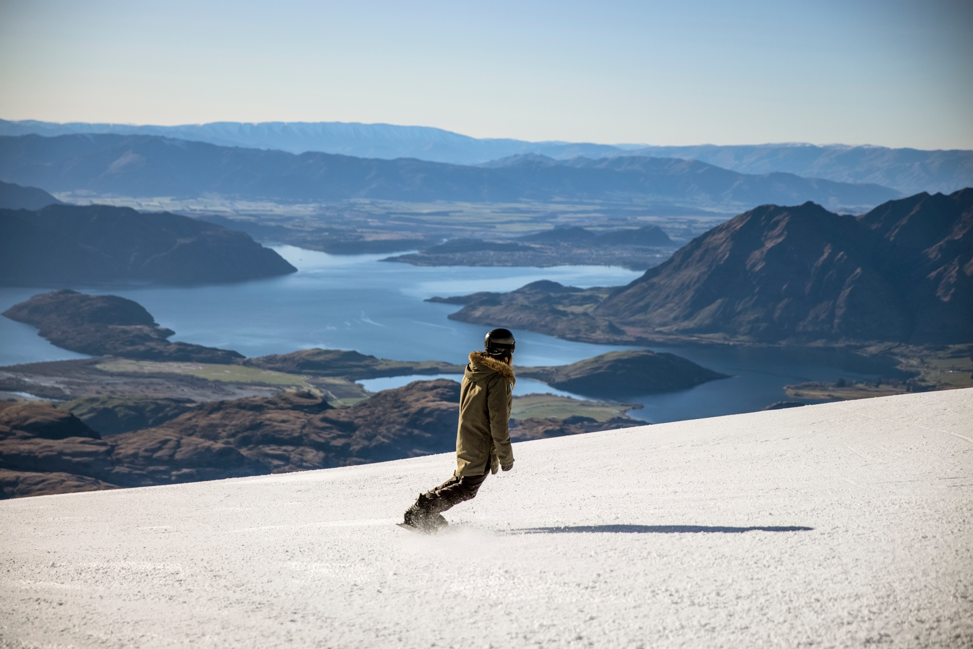 High above Wanaka at Treble Cone. Pic courtesy Miles Holden and TNZ.