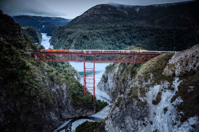 The TranzAlpine train snakes its way over one of the many gorges on it's journey