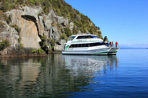 Take a cruise on Lake Taupo to see the Maori rock art