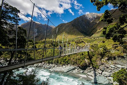 A swinging bridge on the Rob Roy Glacier track in Mt Aspiring National Park