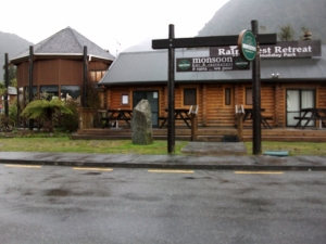 The Monsoon Inn at Franz Josef - good food and a roaring fire.