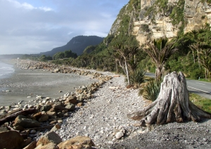 The rugged coastline at Punakaiki