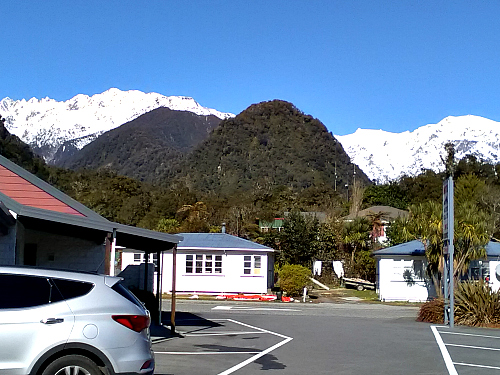 The view from the car park at the Alpine Glacier Motel Franz Josef