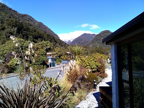 The view from our room at Alpine Glacier motel Franz Josef village